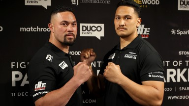 AUCKLAND, NEW ZEALAND - OCTOBER 06: Joseph Parker (L) and Junior Fa (R) pose during a media opportunity ahead of the Joseph Parker v Junior Fa match in December, at Spark City on October 06, 2020 in Auckland, New Zealand. (Photo by Phil Walter/Getty Image