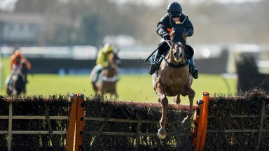 WARWICK, ENGLAND - FEBRUARY 26: Harry Skelton riding Cabot Cliffs clear the last to win The South West Syndicate Juvenile Hurdle at Warwick Racecourse on February 26, 2021 in Warwick, England. Due to the coronavirus pandemic, owners along with the paying