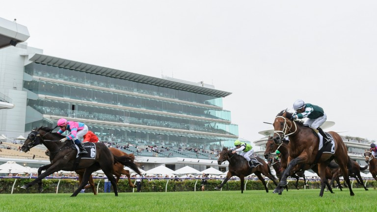 MELBOURNE, AUSTRALIA - FEBRUARY 27: Michael Dee riding Lunar Fox winning Race 7, the Kennedy Australian Guineas, during Melbourne Racing at Flemington Racecourse on February 27, 2021 in Melbourne, Australia. (Photo by Vince Caligiuri/Getty Images)