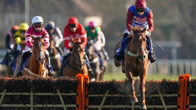 Tritonic clears away from Casa Loupi to land the Close Brothers Adonis Hurdle at Kempton
