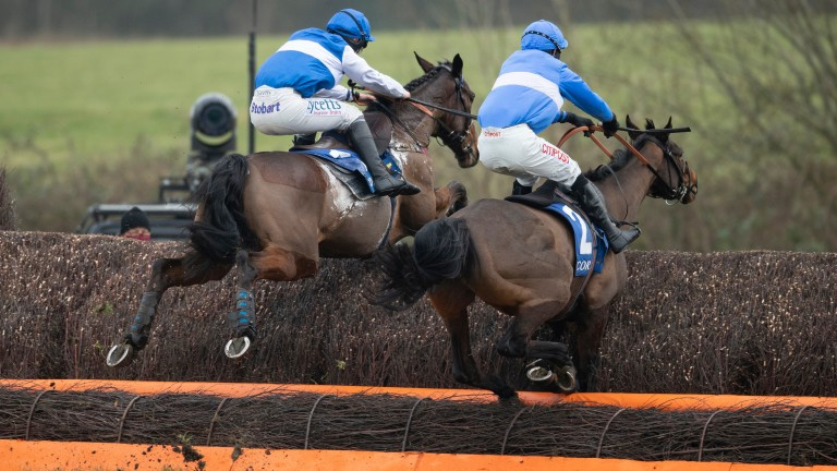 On what was to prove a very successful day for jockey Adam Wedge when he landed the Welsh National on the Evan Williams-trained Secret Reprieve, he had a painful start to the meeting with a fall from Esprit Du Large (right) in the 2m3f handicap chase