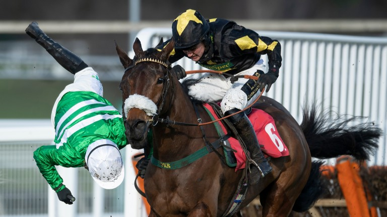 Jonjo O'Neill jnr is unseated from Uptown Lady at the final flight of the Grade 2 Jane Seymour Mares' Novices' Hurdle at Sandown