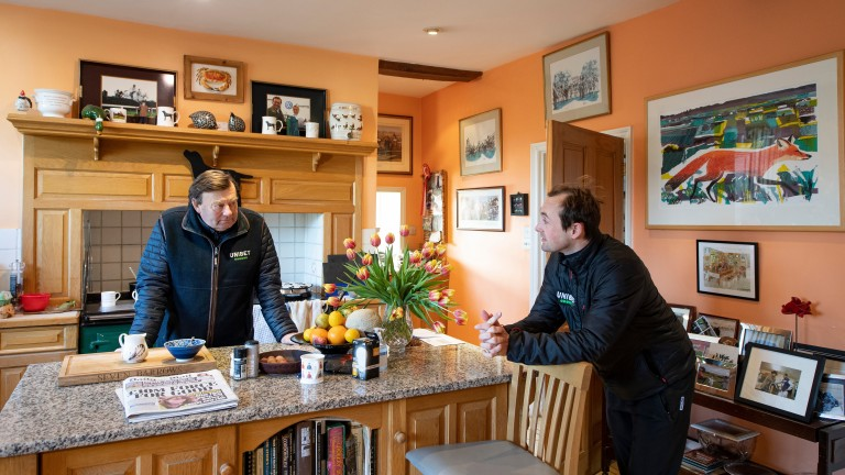 A discussion between champion trainer Nicky Henderson and his jockey Nico de Boinville in the kitchen at Seven Barrows, Lambourn