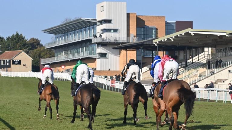Eventual winner Brewin'upastorm and Aidan Coleman track their rivals