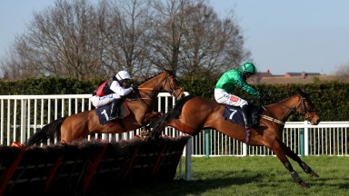 HEREFORD, ENGLAND - FEBRUARY 28: Raffles Gitane ridden by Daryl Jacob (right) clears a fence on their way to winning the MansionBet App Fillies' Juvenile Maiden Hurdle at Hereford Racecourse on February 28, 2021 in Hereford, England. (Photo by David Davie
