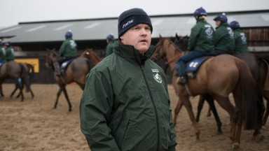 Gordon Elliott watches his string leave the ring.Randox Health Grand National Stable Visit.Cullentra House Stables.Photo: Patrick McCann/Racing Post 05.12.2018