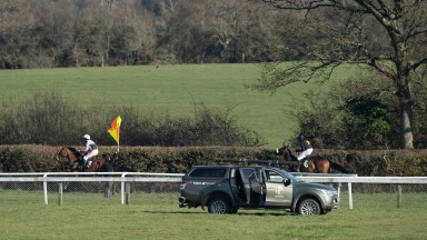 The jockeys pull up after an injured horse blocked the path for the runners in the final circuit of the 2m maiden hurdle which was being led by the odds on favourite Dorking Lad (Jamie Moore,no3)Plumpton 1.3.21 Pic ; Edward Whitaker/ Racing Post