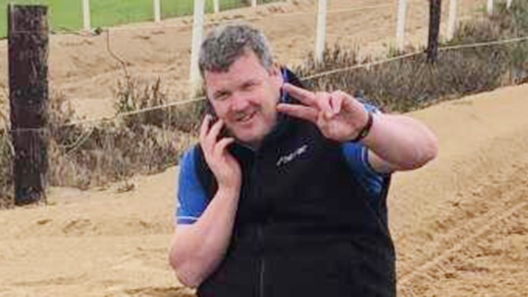 Gordon Elliott poses in the picture that has united the sport in condemnation. The Racing Post has decided not to publish the bottom half of the photo