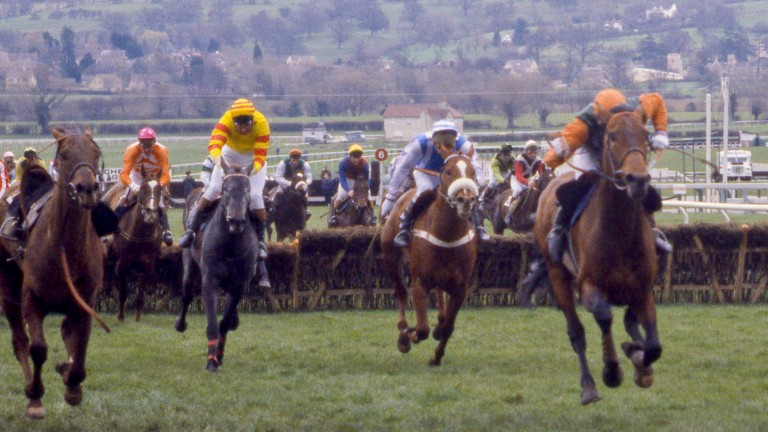 From the clouds: Baron Blakeney (yellow and red, Paul Leach) begins to overhaul Broadsword (Peter Scudamore) up the Cheltenham hill