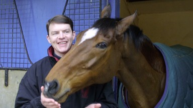 Aidan O'Brien and Istabraq at Ballydoyle the month before his final, failed Champion Hurdle attempt
