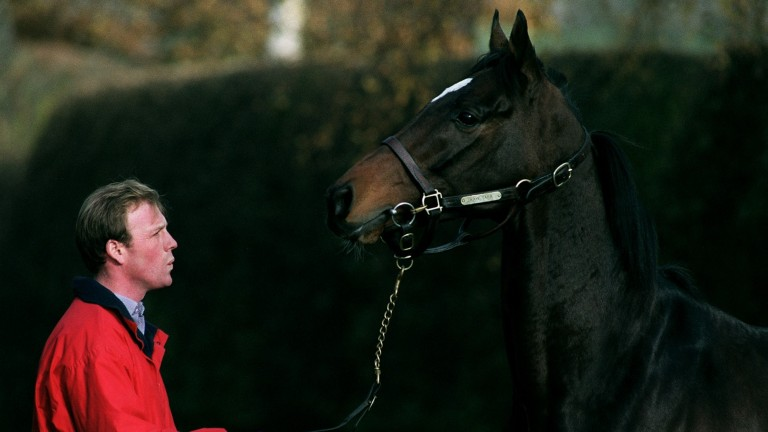 Simon Sweeting and Kayf Tara shortly after the dual Gold Cup winner's arrival at Overbury Stud in November 2000
