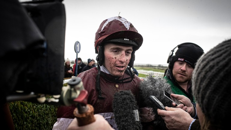 Keith Donoghue: timed his challenge to perfection on Shopping Around in the mares' handicap hurdle