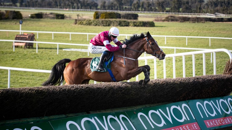 Scarlet And Dove (Donagh Meyler) on her way to a seven-length victory over Sharpo in the Flyingbolt Novice Chase