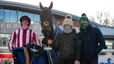 Mitchouka and connections after landing the TRI Equestrian Handicap Chase