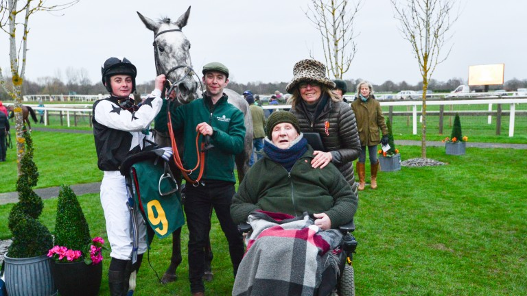 Tim Wood with jockey Eoin Walsh and trainer Lucy Wadham after Martello Sky's debut victory at Fakenham last year