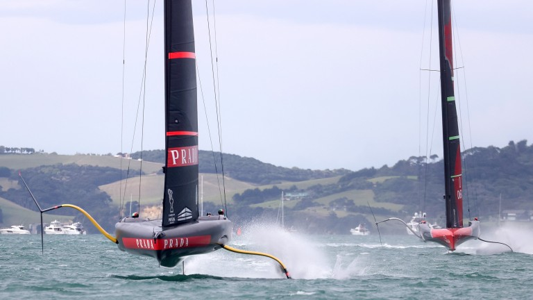 Luna Rossa leads Team New Zealand during America's Cup race two in Auckland