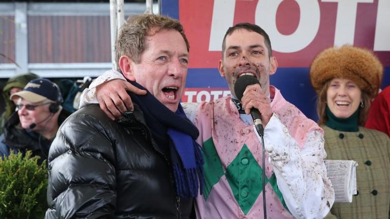 On song: jockey Ryan Winks duets with Derek Thompson