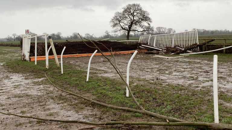 A damaged fence at Bangor after severe flooding in the area