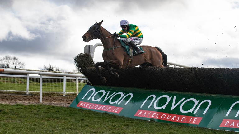Any Second Now and Mark Walsh jump the last en route to an impressive success in the Webster Cup at Navan