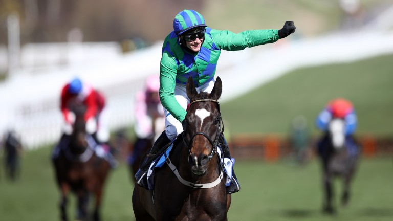 On his own: Paul Townend celebrates as Appreciate It romps home in Tuesday's Supreme