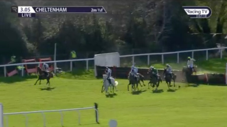 Goshen (far left) begins to hang badly to his right during the Champion Hurdle on Tuesday