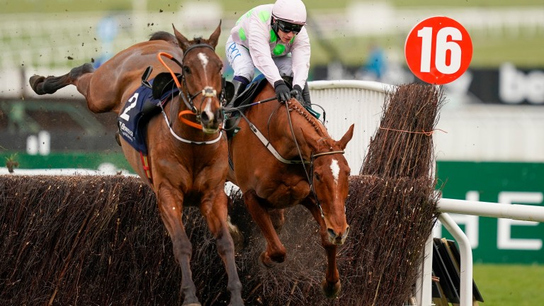 Hot favourite Monkfish, with the loose Eklat De Rire for company, dives at the last fence