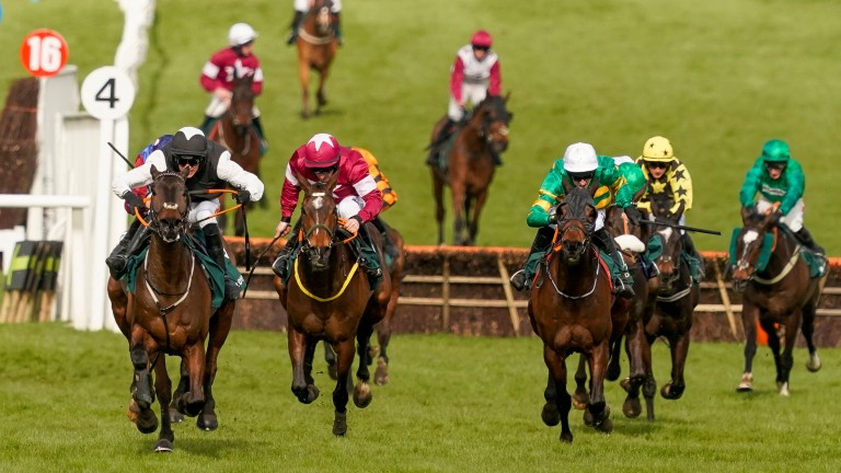 Flooring Porter (left) sees of Paisley Park, Sire Du Berlais and Burrows Edge to win the Stayers' Hurdle