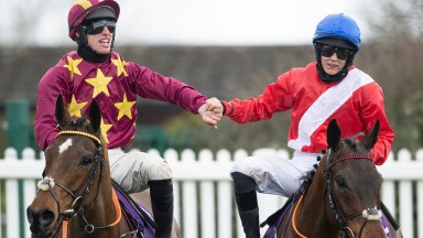 Rachael Blackmore (right, on A Plus Tard) congratulates Gold Cup hero Jack Kennedy on stablemate Minella Indo