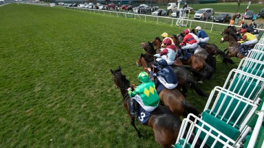The runners in the Brocklesby Conditions Stakes, first race of the British turf season break from the stalls.Doncaster 27.3.21 Pic: Edward Whitaker/Racing Post