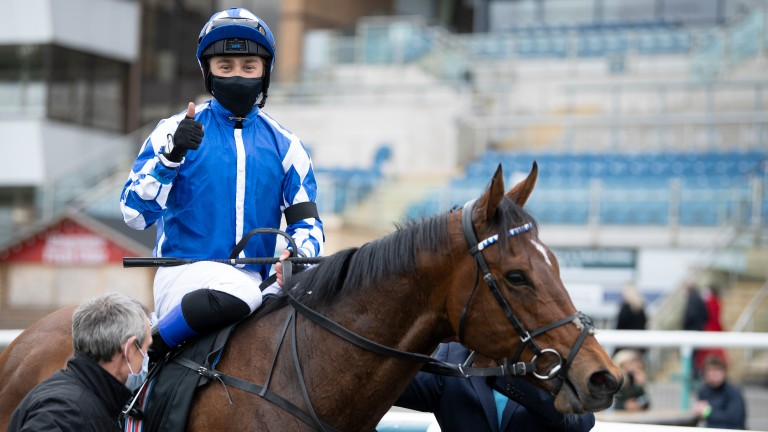 Benoit de la Sayette gives the thumbs-up after winning the Lincoln on Haqeeqy this year