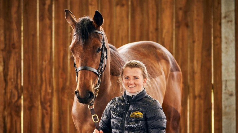 The latest Lotto competition prize, a juvenile filly by Postponed, pictured with Hollie Doyle