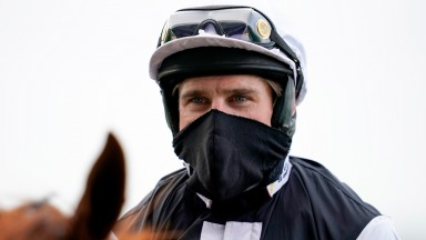 ASCOT, ENGLAND - FEBRUARY 20: Harry Skelton after riding Captain Chaos to win The 'My Oddsboost' On Betfair Swinley Chase at Ascot Racecourse on February 20, 2021 in Ascot, England. Due to the coronavirus pandemic, owners along with the paying public will