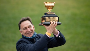 Henry de Bromhead with the Cheltenham Gold CupCheltenham 19.3.21 Pic: Edward Whitaker/Racing Post