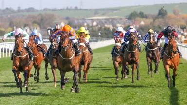 JABBAROCKIE Ridden by Jason Hart (Orange & Blue)  wins at Musselburgh 3/4/21 Copyright: Grossick Photography