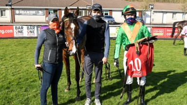 Scorpion's Revenge and Dan Nevin after winning the Jim Ryan Racecourse Services (Pro Am) Flat Race at Cork. Picture: David Keane.Racing Post 04.04.2021