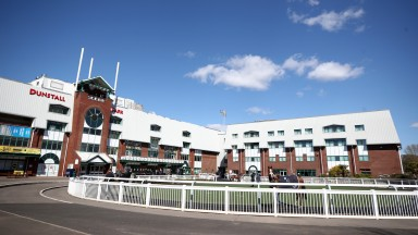 WOLVERHAMPTON, ENGLAND - APRIL 05: A general view of the parade ring at Wolverhampton racecourse on April 5, 2021 in Wolverhampton, England. Sporting venues around the UK remain under strict restrictions due to the Coronavirus Pandemic as Government socia