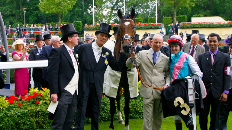 Teddy Grimthorpe with Sir Henry Cecil, Frankel and Tom Queally after a supreme Queen Anne triumph in 2012