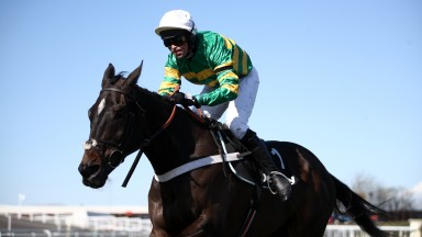 LIVERPOOL, ENGLAND - APRIL 09: Nico De Boinville riding Chantry House on their way to winning the Betway Mildmay Novices' Chase during Ladies Day of the 2021 Randox Health Grand National Festival at Aintree Racecourse on April 9, 2021 in Liverpool, Englan