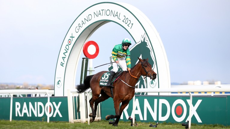 Rachael Blackmore roars with delight after winning the 2021 Randox Grand National on Minella Times at Aintree