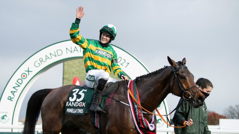 Rachael Blackmore celebrates her Grand National success on Minella Times
