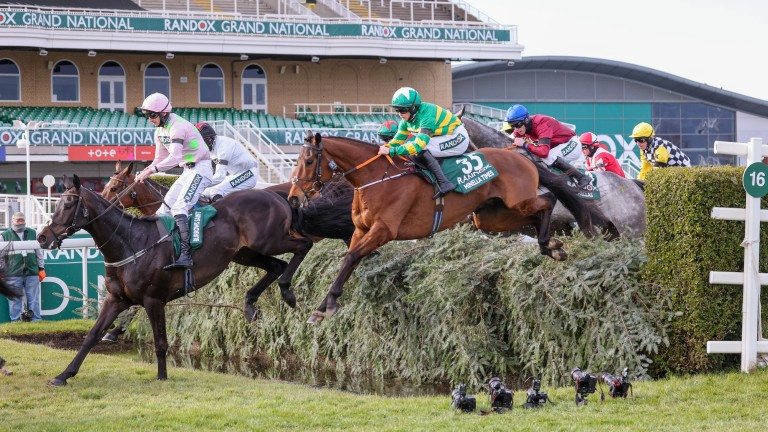 Burrows Saint (pink) is just ahead of winner Minella Times as the field passes the stands for the first time