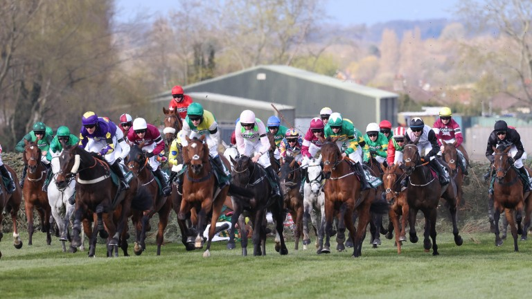 Cloth Cap (green cap, left of centre): one of the big disappointments of the Grand National