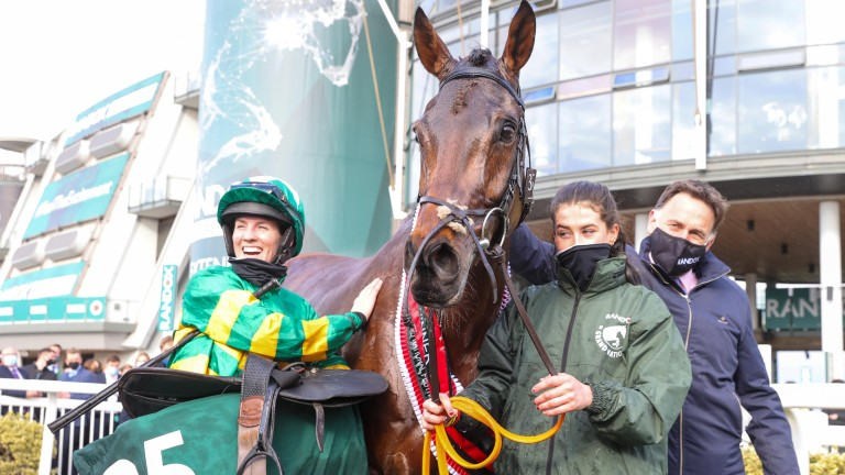 Golden team: Henry de Bromhead (right) and Rachael Blackmore (left) after Minella Times won the Randox Grand National