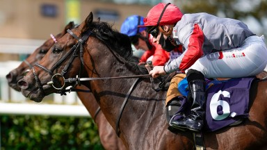 Rowan Scott and Ubettabelieveit win The Bombardier Flying Childers Stakes at Doncaster