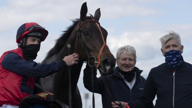 The 2m5f handicap hurdle won by Carrolls Cottage and Brian HayesLimerick Racecourse.Photo: Patrick McCann/Racing Post15.04.2021