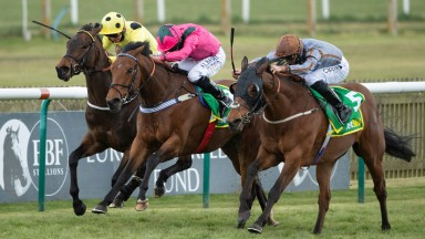 Summerghand (Danny Tudhope,nearest) beats Oxted (Ryan Moore,centre) and Emaraaty Ana in the Abernant StakesNewmarket 15.4.21 Pic: Edward Whitaker/Racing Post