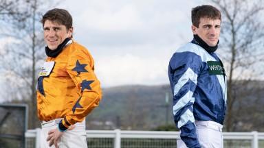 Champion jockey contenders Harry Skelton (left) and Brian Hughes at Cheltenham 14.4.21Pic: Edward Whitaker