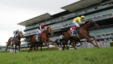 SYDNEY, AUSTRALIA - APRIL 17: Tom Marquand on Addeybb wins race 8 the Longines Queen Elizabeth Stakesduring day two of The Championships at Royal Randwick Racecourse on April 17, 2021 in Sydney, Australia. (Photo by Mark Evans/Getty Images)