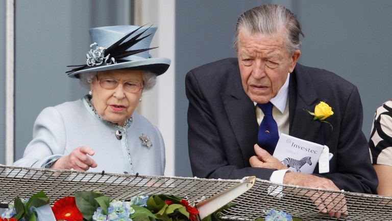 Sir Michael Oswald, pictured with the Queen at Epsom on Derby day in 2013