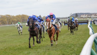 MIGHTY THUNDER (Tom Scudamore) wins the CORAL Scottish National at AYR 18/4/21Photograph by Grossick Racing Photography